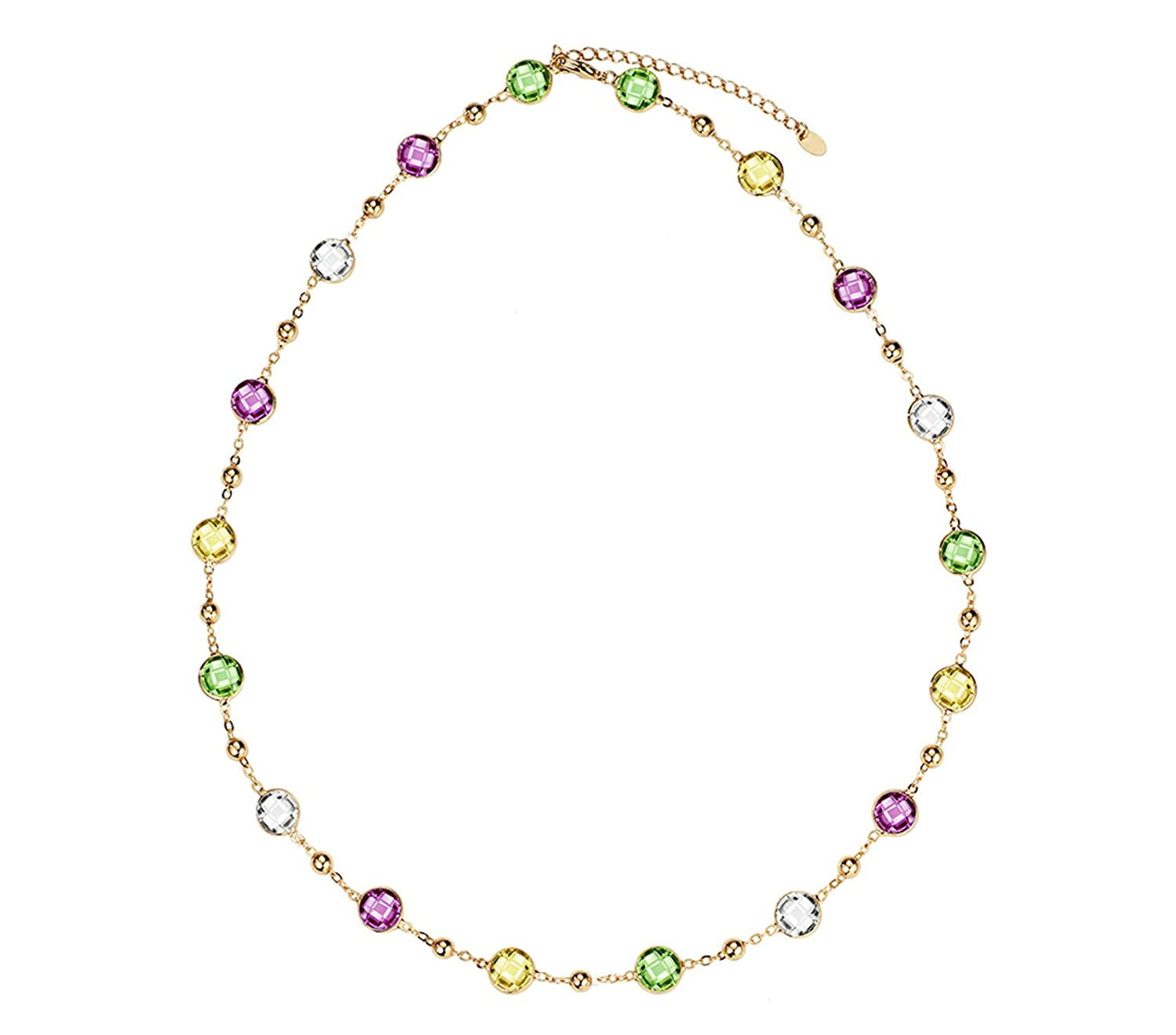 Impercity Crystals Light Yellow Choker Chain Maxi Long Necklaces For Women ValentineS Day Gifts