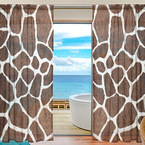SEULIFE Window Sheer Curtain Animal Giraffe Print Voile Curtain Drapes for Door Kitchen Living Room Bedroom 55x84 inches 2 Panels