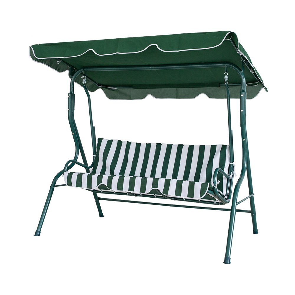 Dporticus Garden 3 Seater Hammock Cushioned Swing Chair Outdoor Patio Porch Swing Seat with Adjustable Canopy