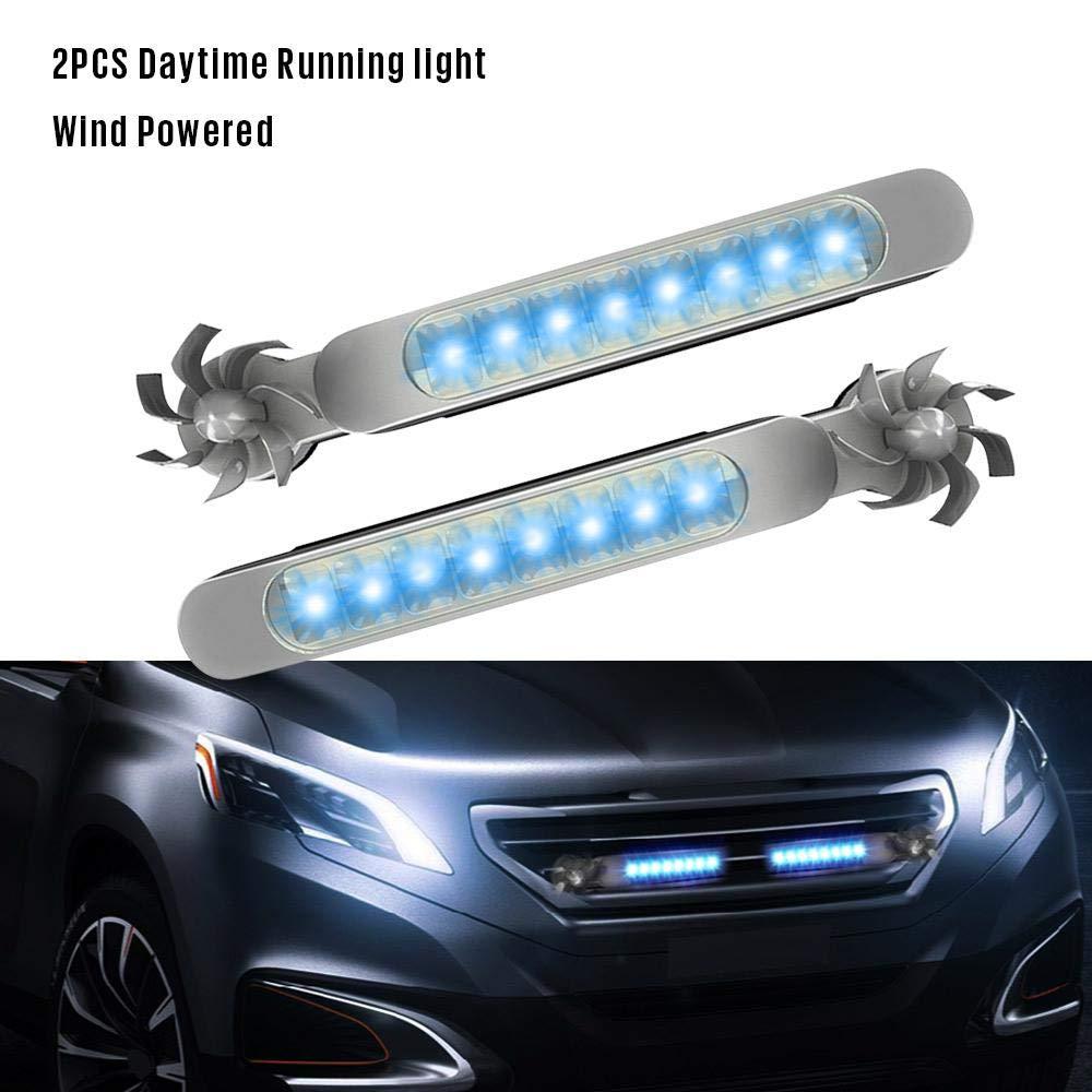 Foonee 2 Pezzi Luci di Marcia Diurna A LED Nessun Cablaggio Decorazione di Esterni per Auto Energia Eolica Luci Decorative A LED