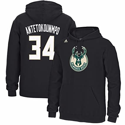 adidas Giannis Antetokounmpo Milwaukee Bucks NBA Negro Reproductor Nombre & Numer Fleece Sudadera con Capucha para