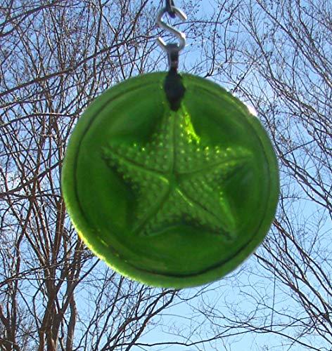 Moss Green Starfish Up-Cycled Glass Wine Bottle Bottom Handmade Ornament Sun Catcher
