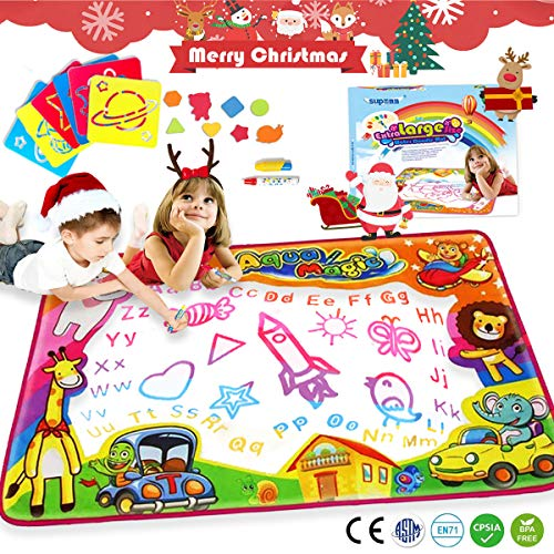 Water Drawing Mat Aqua Magic Water Doodle Mat Kids Toys Mess Free Coloring Painting Educational Writing Mats Xmas Gift Extra Large for Toddlers Boys Girls Kids Doodle Learning Toy 34.6 X 22.8