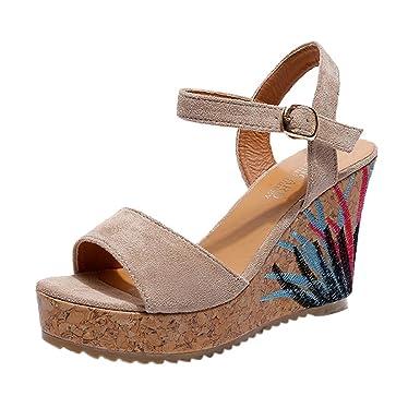 Bohème Femmes Sandales Cheville Sangle Plate-Forme de Paille Wedges  Chaussures Talons Hauts Bouche Haute Talons Sandales en Cristal Pente  Sandales Talon ... 522e30bfc318