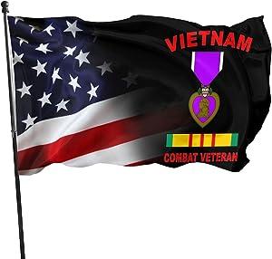 MINGLIANG Purple Heart Vietnam Veteran Flag 3x5ft Uv Fade Resistant Flag Garden Flag.