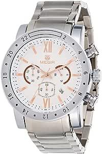 ساعة ميجير للرجال مينا ابيض بسوار ستانلس ستيل كرونوغراف - AC3008