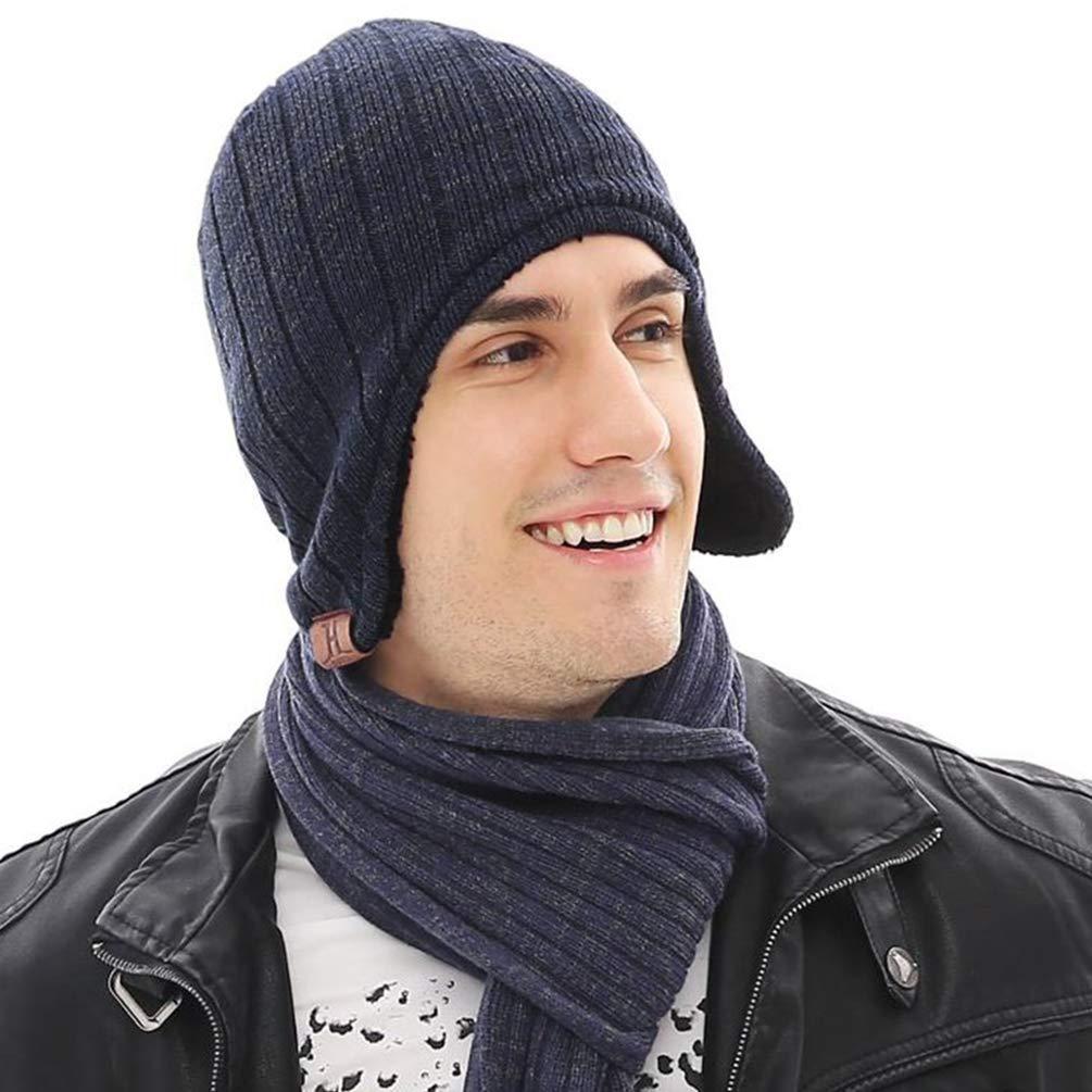 VBIGER Bonnet En Tricot Épais D\'Hiver Ski Protection Oreille Pour Homme Femme, Bleu Marine, Taille unique