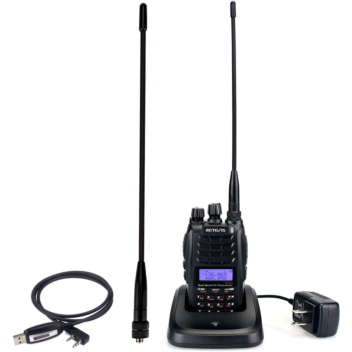 Retevis RT23 Walkie Talkie 5W Dual Band UHF/VHF 136-174/400-480Mhz Dual PTT Dual Receive 128CH 1750Hz DTMF FM VFO/MR/CH 1600mAh Two Way Radio(1 Pack)