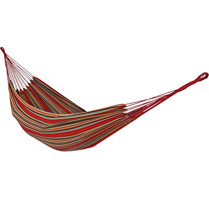 Sunnydaze Brazilian Double Hammock with Carrying Pouch, 2 Person Portable Bed - for Indoor Or Outdoor Patio, Yard, and Porch (Sunset)