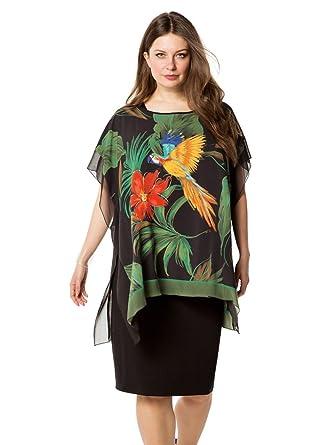 Doris Streich Damen Jerseykleid mit Poncho-Überwurf große Größen ... ce4eea5c2e