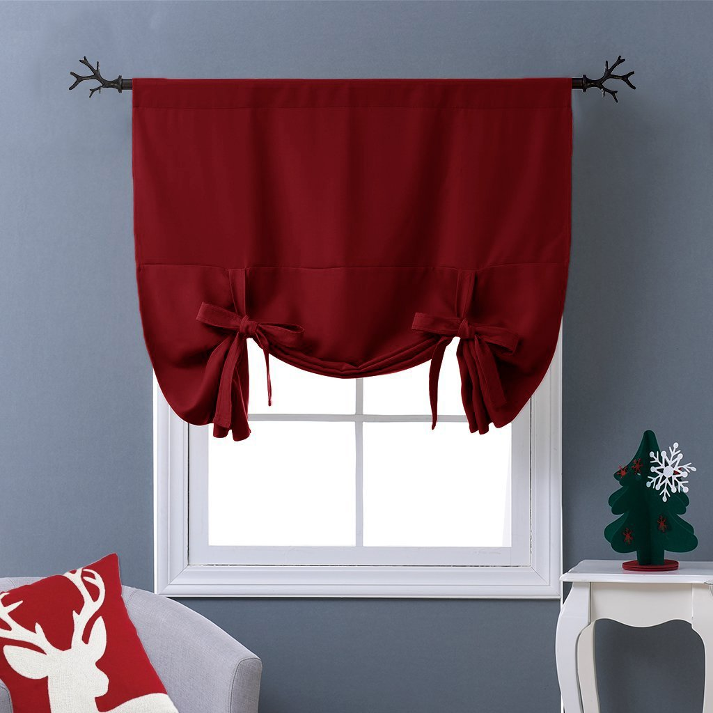 "NICETOWN Burgundy Tie-Up Shade Curtain - Window Treatment Balloon Valance Drape for Kitchen Window on Christmas Day (Rod Pocket Panel, 46"" W x 63"" L)"