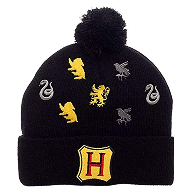 Image Unavailable. Image not available for. Color  Harry Potter Hogwarts  Houses Embroidered Logos Pom Beanie 9112024212ca