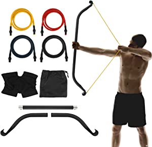TOPQSC Bow Portable Home Gym Resistance Bands and Bar System, Full Body Workout Equipment Set for Travel, Fitness, Weightlifting and Exercise