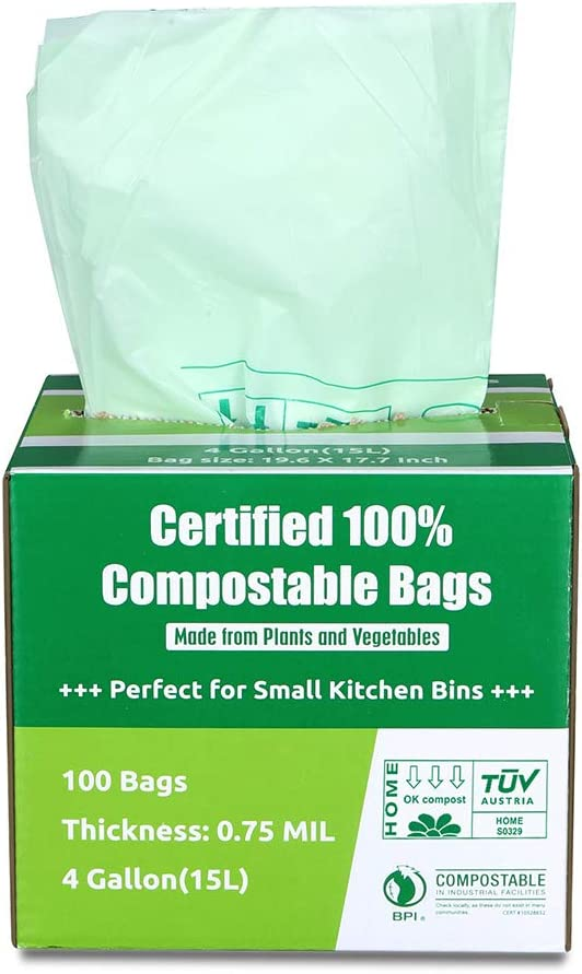 Primode 100% Compostable Bags, 4 Gallon (15L) Food Scraps Yard Waste Bags, Extra Thick 0.75 Mil. ASTM D6400 Compost Bags Small Kitchen Trash Bags, 100 Count Certified by BPI & TUV EU