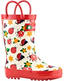 Oakiwear Kids Rubber Rain Boots With Easy-On Handles | Shark Frenzy, Pink Elephants, Ladybugs & Flowers