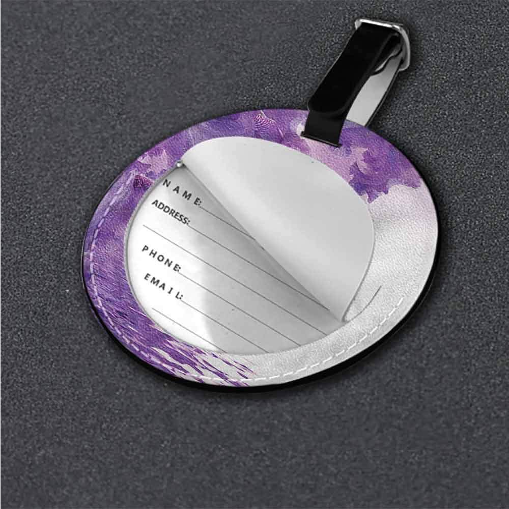 Round Luggage Tags Flower,Lilac Flowers Blossoms Portable Label