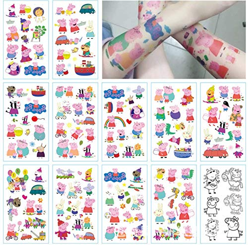 (AG Goodies Pig Tattoo Sheet for Boys Girls ~ 12 Temporary Tattoos for Peppa Pig Party Favors and)