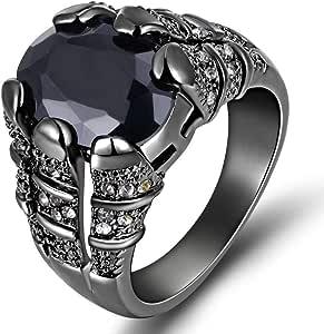 خاتم رجالي مطلي روديوم أسود بحجر كريم ياقوت أسود مقاس US 9