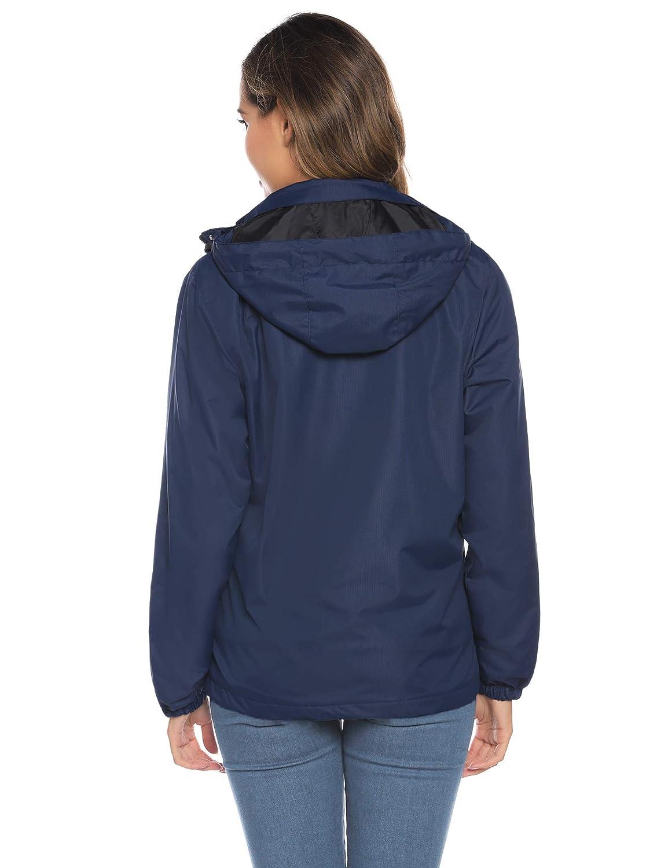 Parka à Capuche Détachable Manteau Femme Doudoune Veste Zippé Chaud Blouson Manches Longues Casual Sportif Hiver à la Mode Bleu Marine 3