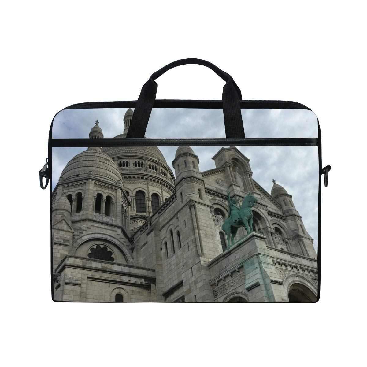 Suitable for 15 Inch Computers Paris Church Mens and Womens Computer Bags Briefcases Handbags Shoulder Bags