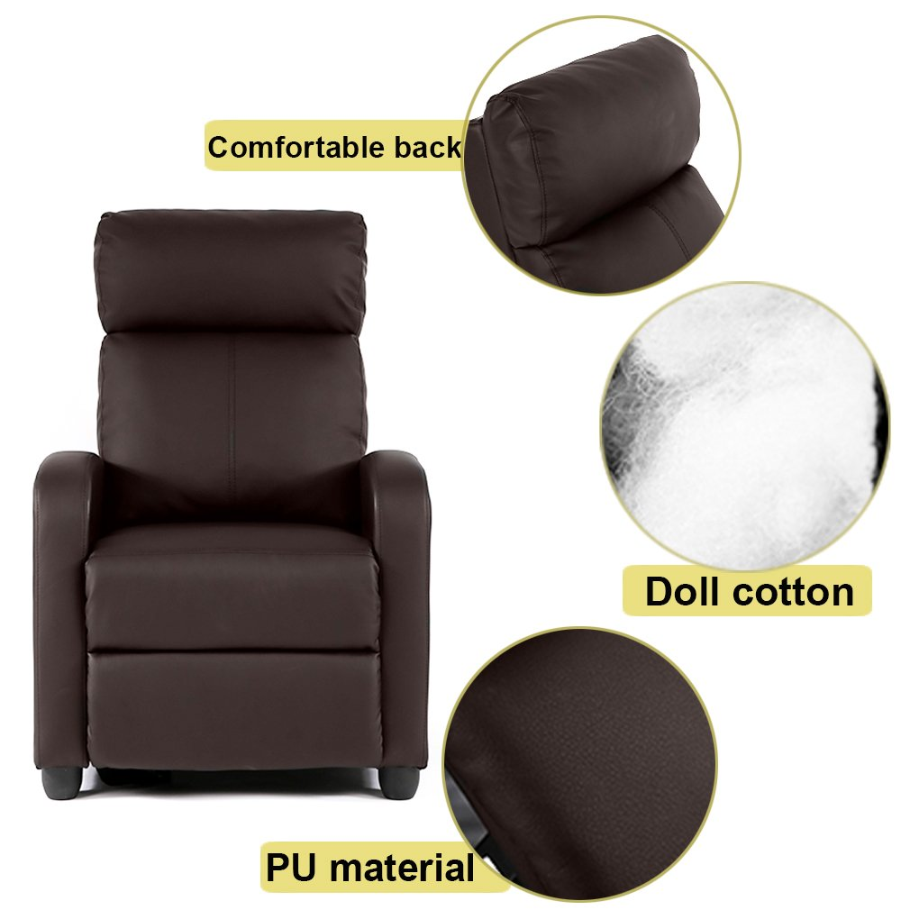 BestMassage Modern Leather Chaise Couch Single Recliner Chair Sofa Furniture