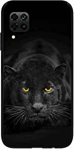 Okteq Clear TPU Protection and Hybrid Rigid Clear Back Cover Compatible with Huawei Nova 7i - Tiger yellow eyes