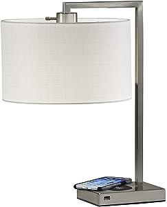Adesso 4123-22 Austin Table Lamp WirelessCharging, 7W LED, 5W QI,USB Port, Indoor Lighting Lamps