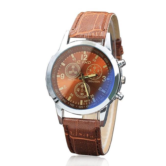 ZODOF Moda Hombre de Negocios Reloj de Cuarzo con Correa de Piel Color marrón Resistente al Agua Fecha Pantalla analógico Sport muñeca Relojes para Hombres: ...