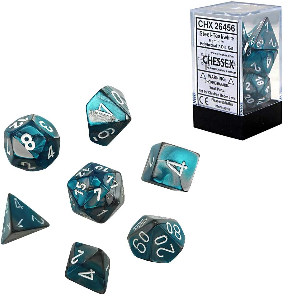 Chessex CHX26456 Dice-Gemini Steel-Teal//White Set Multicolor One Size