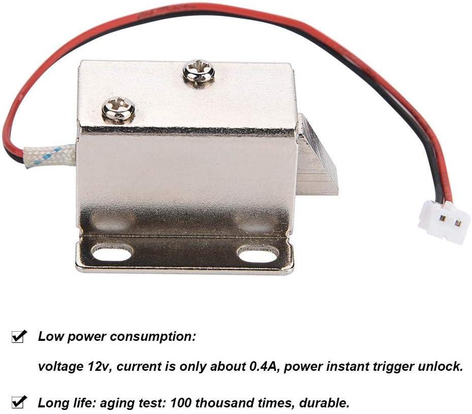 DC 12V 0.4A 10mm Electromagnetic Solenoid Lock Assembly for Electirc Lock Cabinet Door Lock.