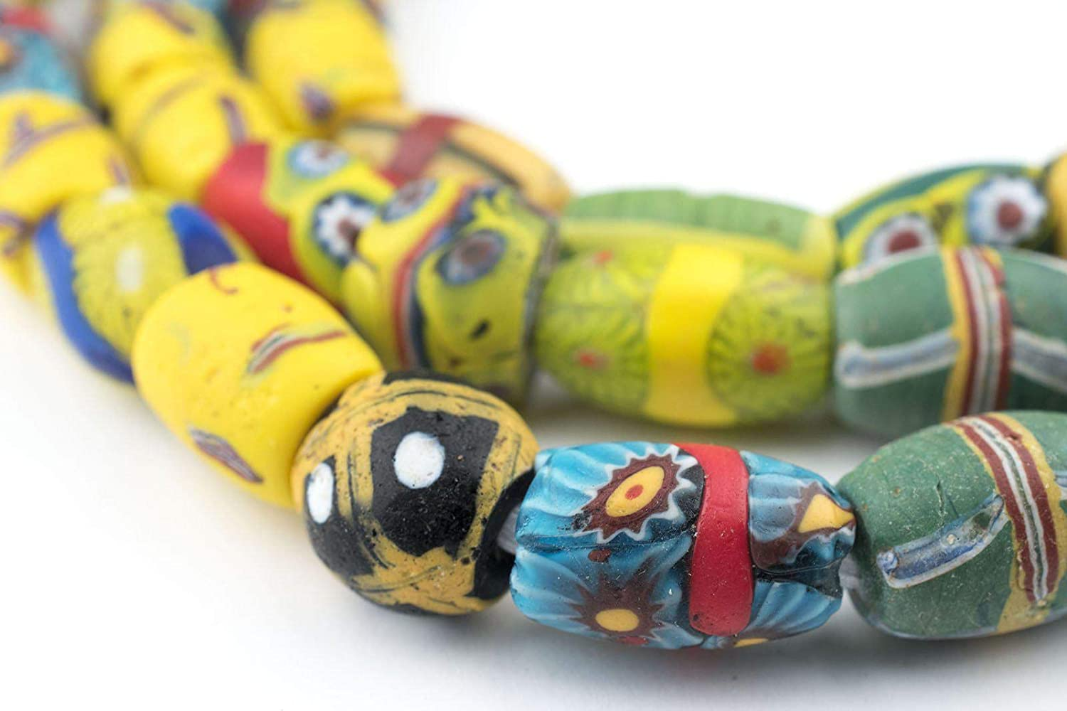 40mm in length and 12mm dia. Strand of 3 \u201celbow\u201d beads in excellent condition Approx Antique Venetian Millefiori African Trade Beads