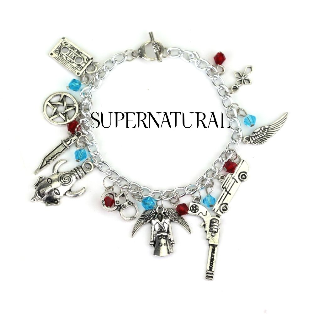Supernatural TV Series Assorted Metal Charms Bracelet
