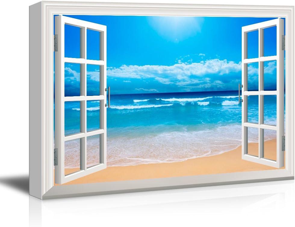 "wall26 - Clear Waves and Fine Sand Beach - Canvas Art Wall Art - 32""x48"""