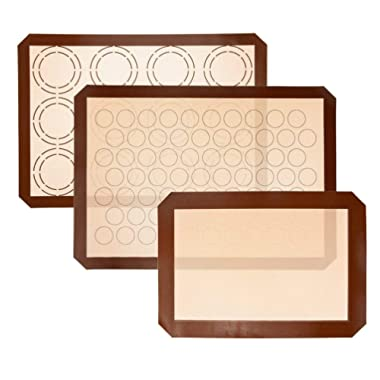 Uarter Silicone Baking Mat Non stick, 2 Half Sheet Mats (16.5  x 11 5/8 ) 1 Quarter Sheet Liner (11.5  x 8.5 ), Professional Grade and BPA Free - Perfect for Cookies Macaroons and Pastry