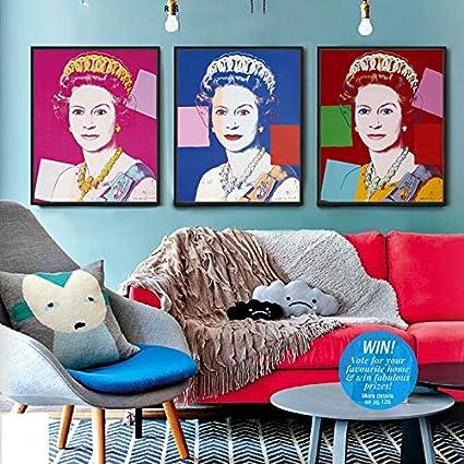 Vintage Prints Digital Photo Wall Art Home Decor, Retro Style Andy Warhol  Design Queen Elizabeth