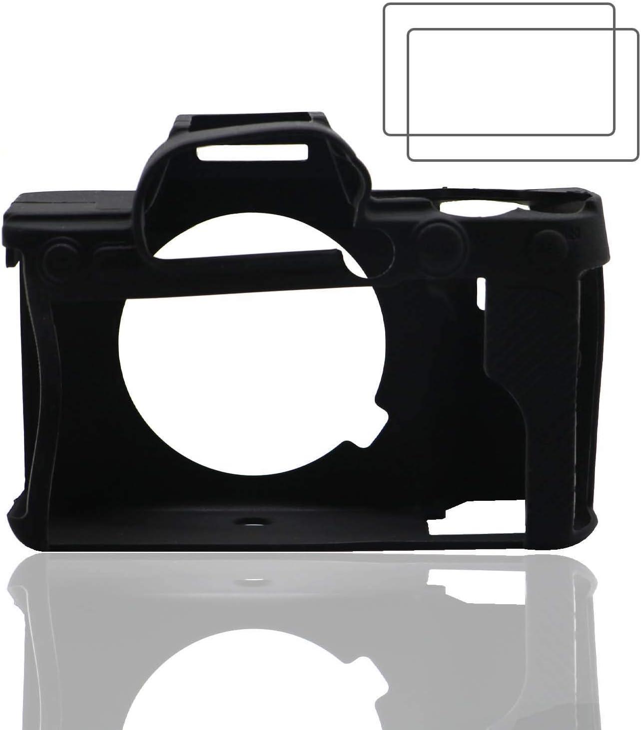 Zlmc A7riv Silikon Schutzhülle Für Sony Alpha 7r Iv Ilce 7rm4 Weiche Schutzhülle Ganzkörper Haut Schwarz 2 Packungen A7r4 Displayschutzfolie Glas Elektronik