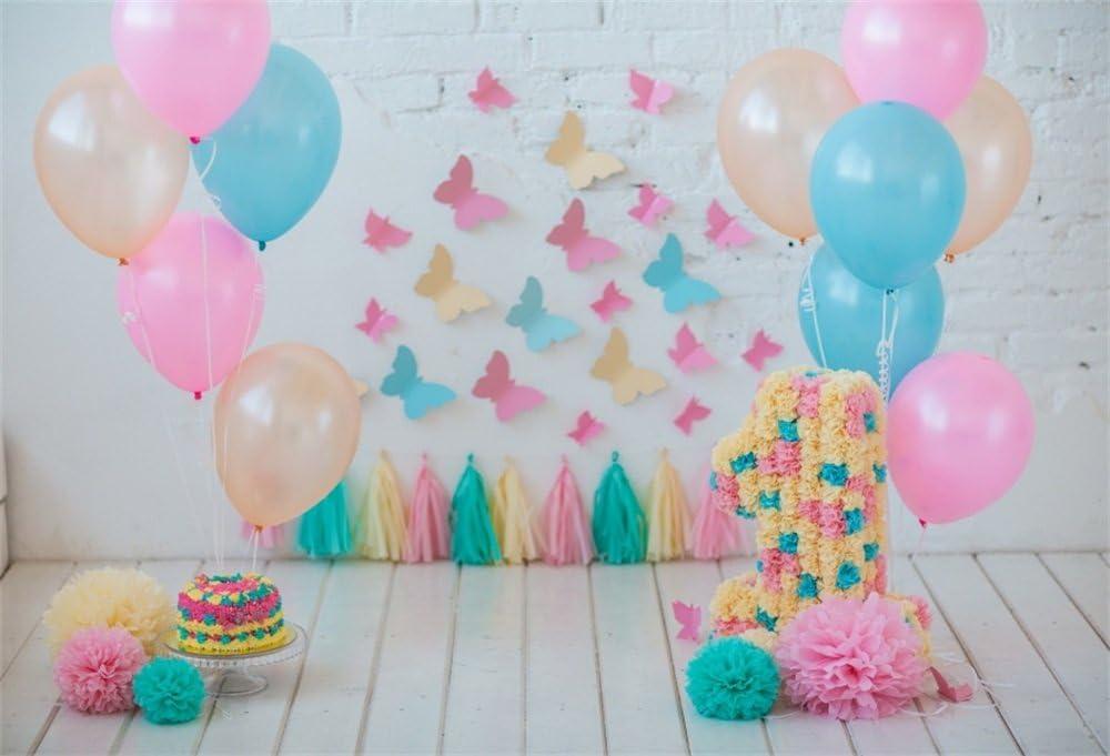 Zhy 2 1x1 5m Vinyl 1st Birthday Photo Backdrop Baby boy Green Balloons Indoor Decor Green Plants Photo Studio Background Baby Child Photography Props Photobooth