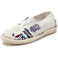 Morbuy Espadrilles for Women Ladies, Casual Slip On Shoes Sneakers Flat Pumps Owl Striped Boho Fashion Style for Beach Holiday Travel Walking Driving Comfortable