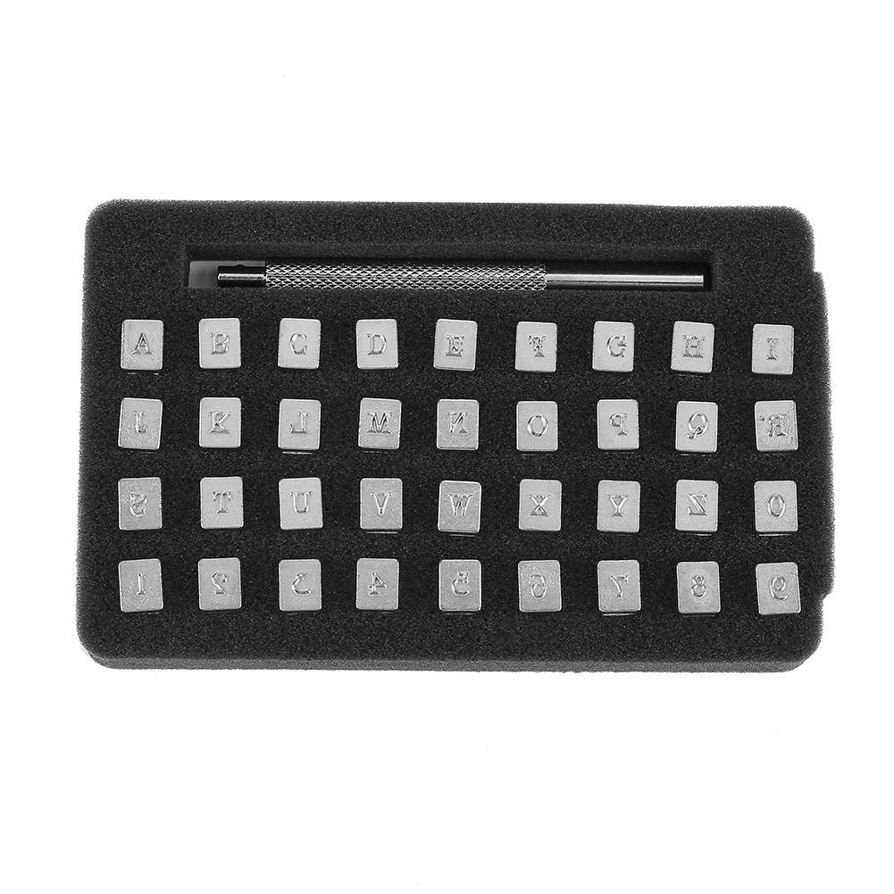 36Pcs Leather Stamping Alloy Steel Letter Number Leather Stamper Punching Tool for DIY Leather Craft Printing(3mm) Walfront
