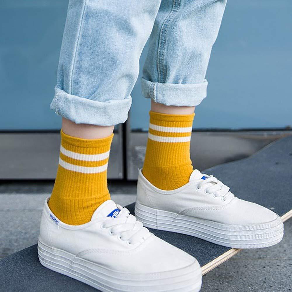 Kimdera 1Pairs Unisex Casual Comfortable Stripe Cotton Sock Women Men Stripe Short Ankle Sports Socks