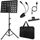 lotmusic Music Stand for Sheet Music Sturdy Tripod Base Adjustable Height Metal Portable with Carrying Bag, LED Light, Paper
