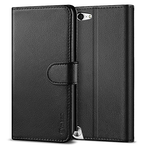 Ipod Touch Folio Case - Vakoo Wallet Flip Case for iPod Touch 7 6 5, Premium PU Leather Phone Cover with Card Slot for Apple iPod Touch 7th 5th 6th Generation (Black)