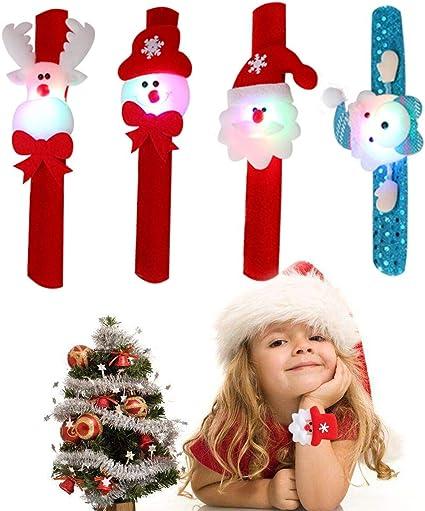 Pawliss Christmas Slap Bracelets Santa Claus Snowman Reindeer Wristband Xmas Decorations 12 Pcs