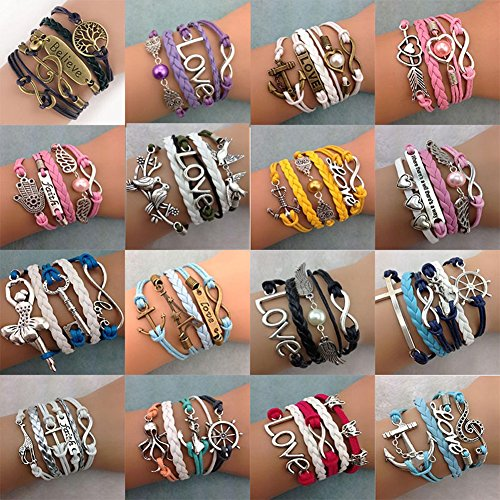 16pcs Handmade Braided Multi Layers Vintage Woven Rope Wrap Bangle Bracelets – Infinity Love