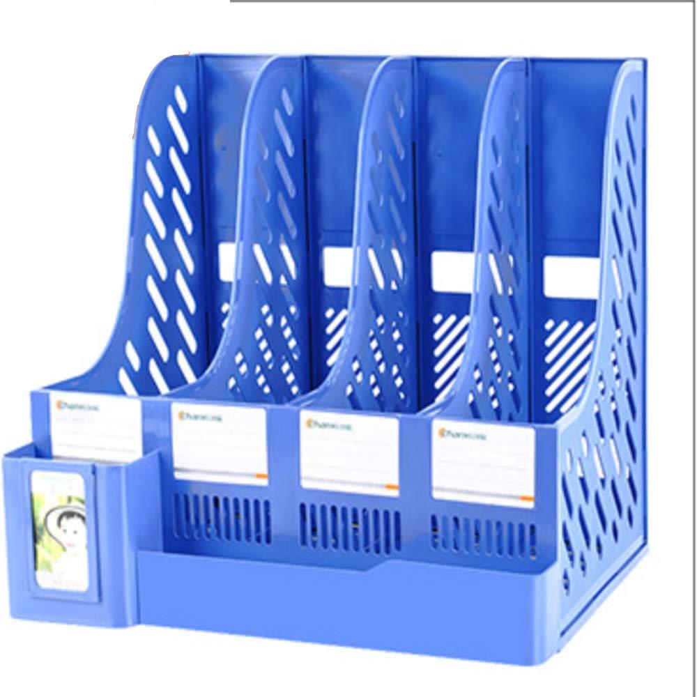 4Sektionen Stabile Kunststoff Zeitschriftenhalter Rahmen Datei Teiler Schrank Rack Papier Dokument B/üro Schule Schreibtisch Veranstalter Box,Black