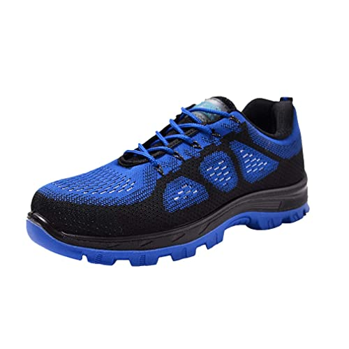 Zapatillas de Seguridad para Hombre - Ligeras Comodas Antideslizante Calzado de Trabajo Protegidos con Puntera de Acero Hombres Negro/Azul/Rojo 36-45: ...