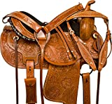 Western Comfy Barrel Racing Pleasure Trail Horse Leather Saddle 14 15 16 17 18 (17)