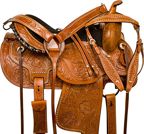 (WESTERN COMFY BARREL RACING PLEASURE TRAIL HORSE LEATHER SADDLE 14 15 16 17 18 (16))