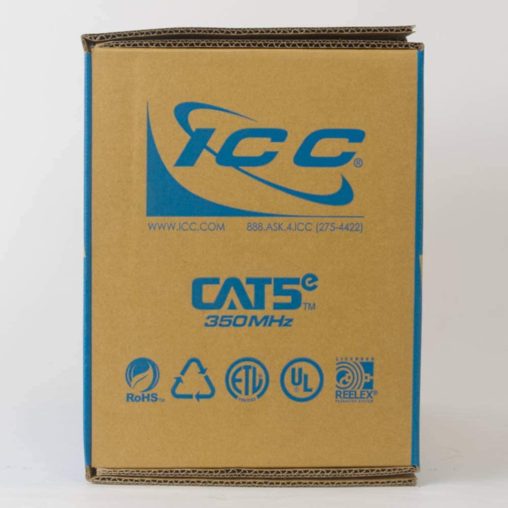 ICC 350Mhz CAT5e Bulk Cable with 24 AWG UTP Solid Wires 1000 Feet in Blue CMR Jacket in a Pull Box