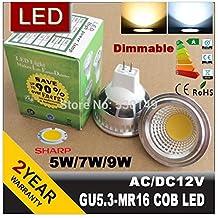 2015 New Dimmable LED MR16 gu5.3 GU10 Cob LED Light Bulb Lamp Spotlight MR 16 cob 12v warm / cool white GU5.3 -110V 220V (White/5w)